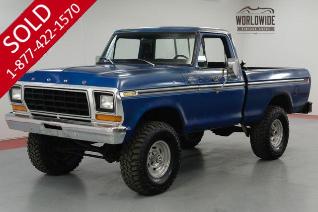 1979 FORD F150 351 V8. 4-SPEED MANUAL. 35 INCH TIRES.