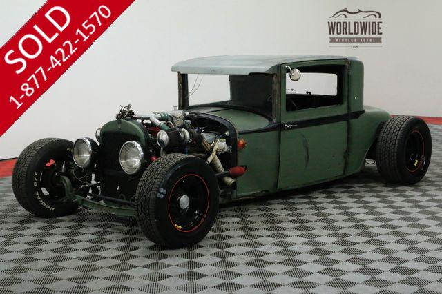 1928 PLYMOUTH COUPE  RAT ROD! AWARD WINNER. TWIN TURBO! AC!